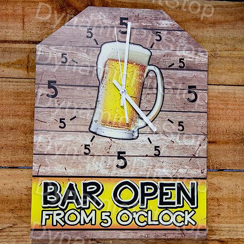 30cm x 40cm Bar Open 5 O'Clock Rustic Clock