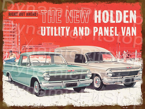 40x30cm Holden EJ Ute & Van Rustic Decal or Tin Sign