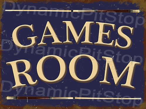 40x30cm Games Room Pool Rustic Decal or Tin Sign