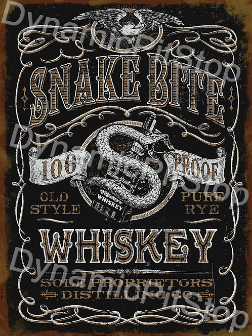 30x40cm Snake Bite Whiskey Rustic Decal or Tin Sign