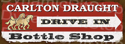 Large 99x35cm Carlton Draught Rustic Decal or Sign