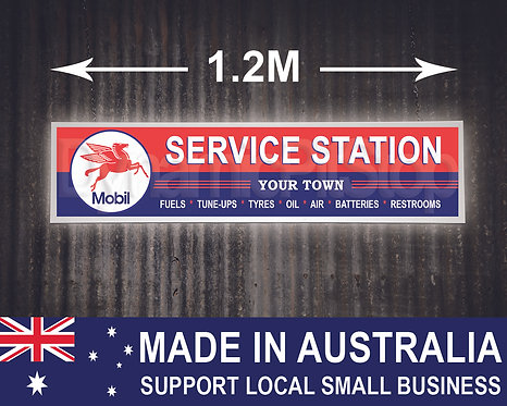 Large Illuminated Mobil Custom Service Station Sign