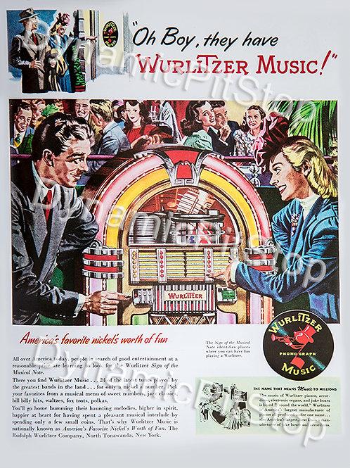 30x40cm Wurlitzer Music Jukebox Decal or Tin Sign