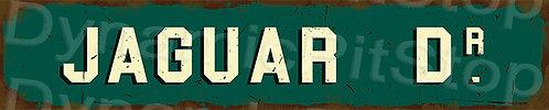 60x12cm Jaguar Dr Rustic Tin Street Sign