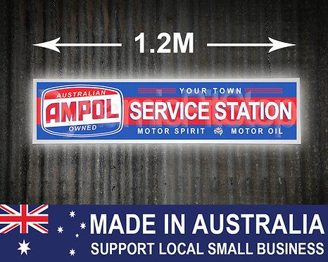 Large Illuminated Ampol Custom Service Station Sign