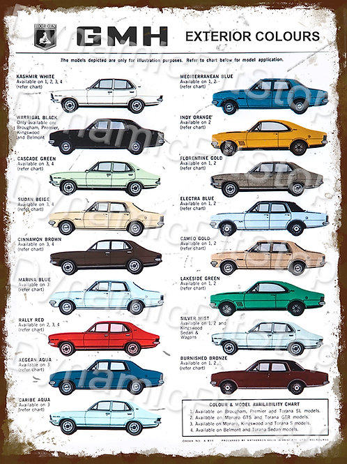 30x40cm Holden GMH Colours Rustic Decal or Tin Sign