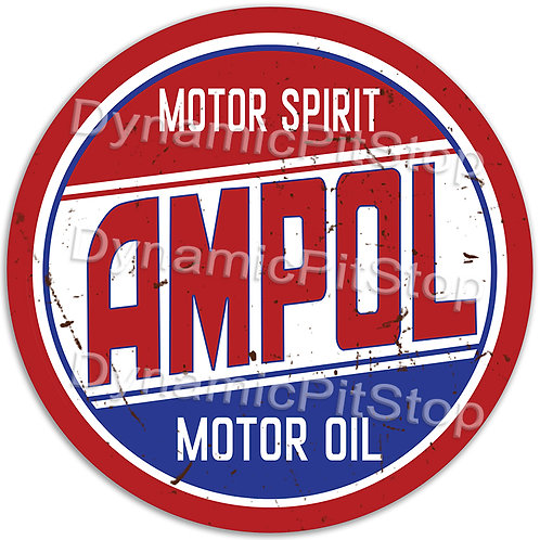 60cm Ampol Logo Round Tin Sign