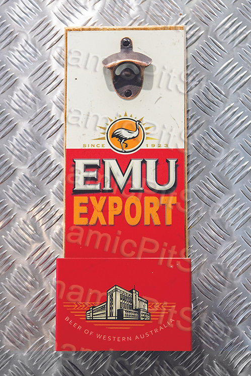 40cm x 15cm Emu Export Rustic Wall Bottle Opener & Catcher