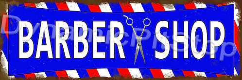 60x20cm Barber Shop Rustic Decal or Tin Sign
