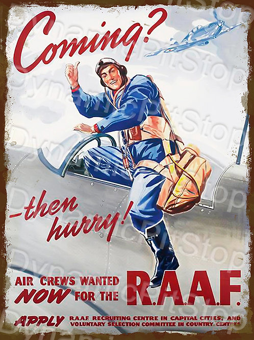 30x40cm RAAF Military Rustic Decal or Tin Sign