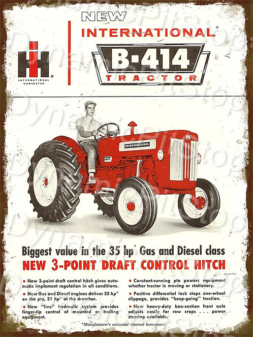 30x40cm International B414 Tractor Rustic Decal or Tin Sign