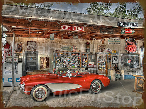 40x30cm Corvette Old Garage Rustic Decal or Tin Sign