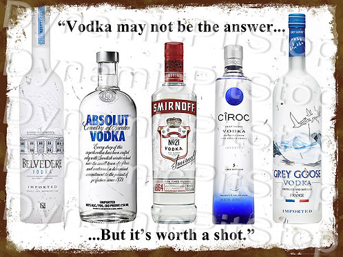 40x30cm Vodka Shot Rustic Decal or Tin Sign