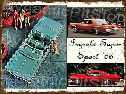 40x30cm Chevrolet Impala 1966 Super Sport Rustic Decal or Tin Sign