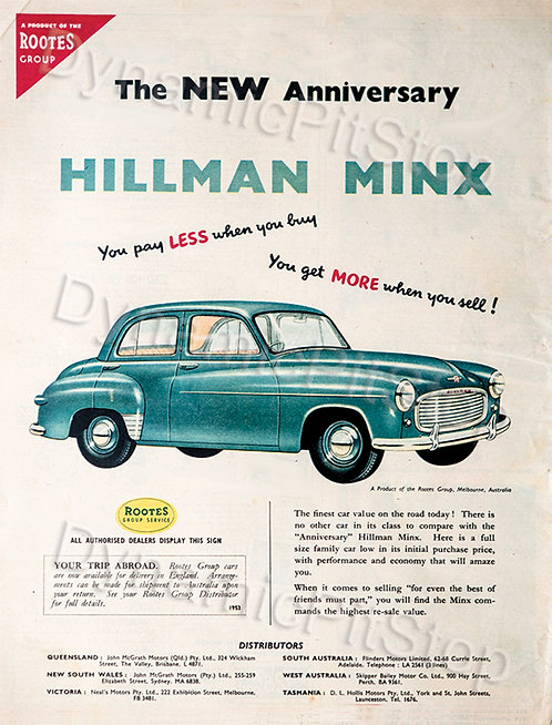 30x40cm Hillman Minx Rustic Decal or Tin Sign