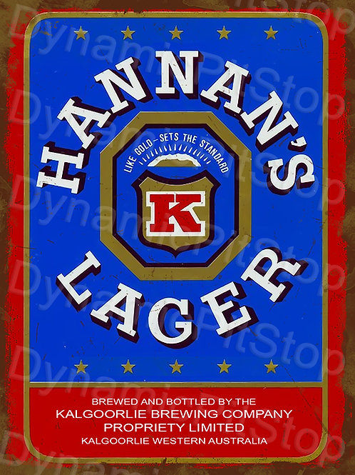 30x40cm Hannans Lager Rustic Decal or Tin Sign