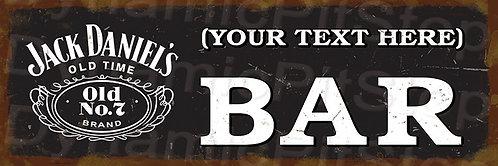 60x20cm Jack Daniels Bar Personalised / Custom Decal or Tin Sign