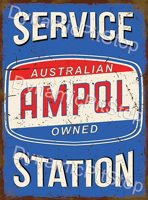 30x40cm Ampol Service Station Rustic Decal or Tin Sign