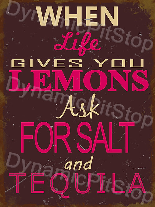 30x40cm When Life Gives You Lemons Make Tequila Rustic Decal or Tin Sign