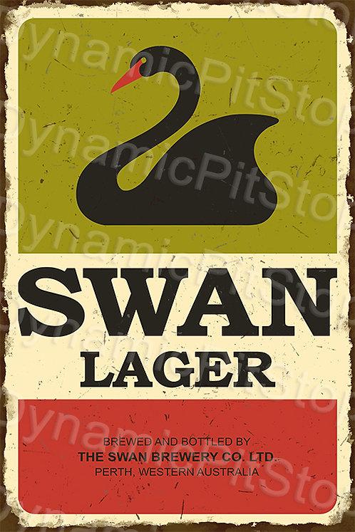 HUGE 80x120cm Swan Lager Rustic Sign