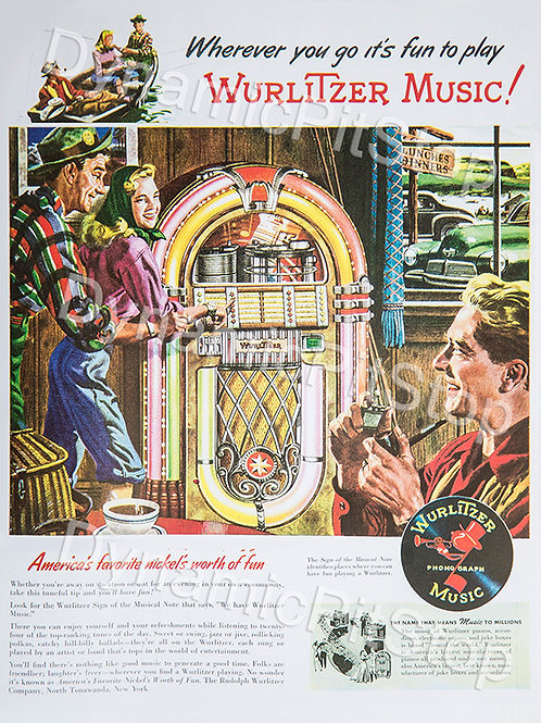 30x40cm Wurlitzer Music Decal or Tin Sign