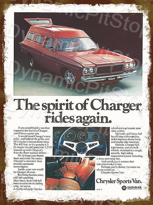 30x40cm Chrysler Spirit Charger Rustic Decal or Tin Sign