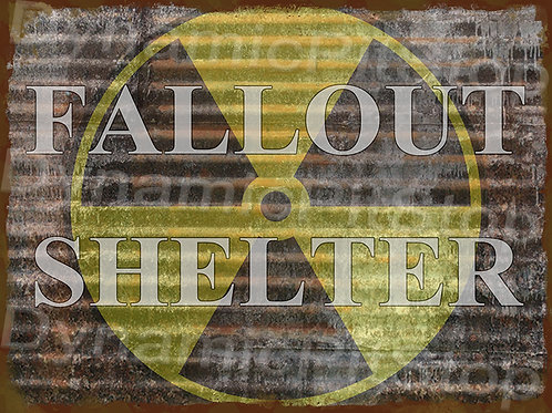 40x30cm Fallout Shelter Rustic Decal or Tin Sign