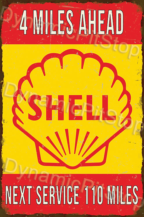 40x60cm Shell Next Service Rustic Decal or Tin Sign