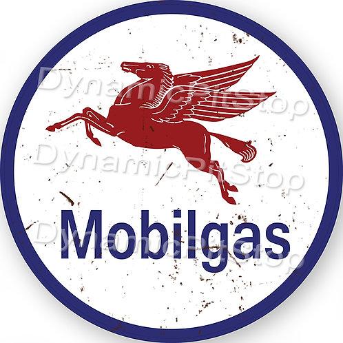 60cm Mobil Logo Round Tin Sign