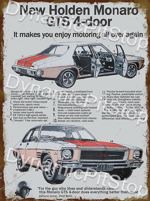 30x40cm Holden Monaro GTS 4 Door Rustic Decal or Tin Sign