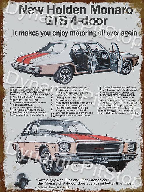 30x40cm Holden Monaro GTS 4 Door Rustic Decal or Tin Sign