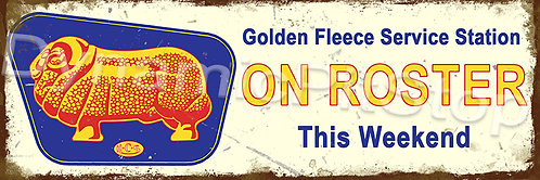 60x20cm Golden Fleece On Roster Rustic Decal or Tin Sign
