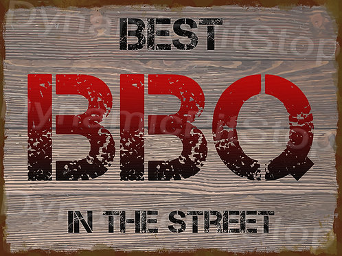 40x30cm Best BBQ Rustic Decal or Tin Sign