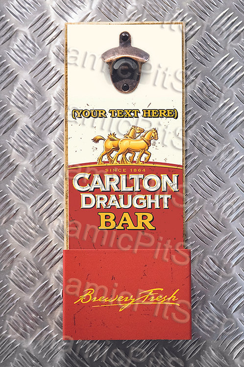 40cm x 15cm Personalised Carlton Draught Rustic Wall Bottle Opener & Catcher