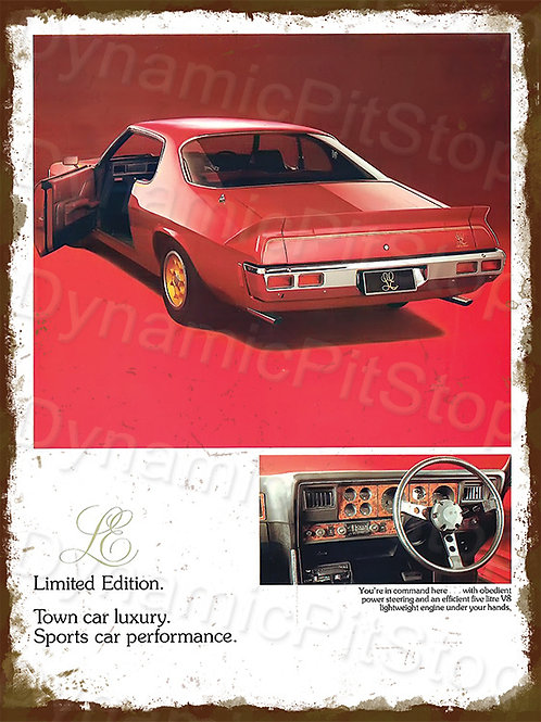 30x40cm Holden 1976 LE Monaro Rustic Decal or Tin Sign
