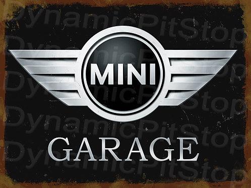 40x30cm MINI Garage Modern Logo Badge Rustic Decal or Tin Sign