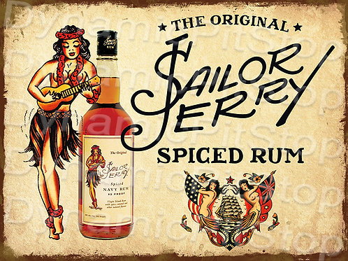40x30cm Sailor Jerry Spiced Rum Rustic Decal or Tin Sign