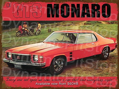 40x30cm Holden HJ Monaro GTS Rustic Decal or Tin Sign