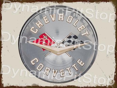 40x30cm Corvette Badge Rustic Decal or Tin Sign