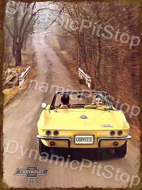 30x40cm Corvette 1965 Rustic Decal or Tin Sign