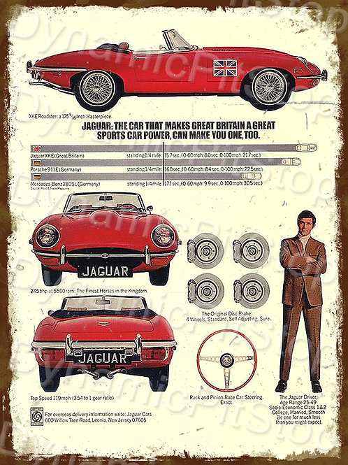30x40cm Jaguar E Type Britain Rustic Decal or Tin Sign