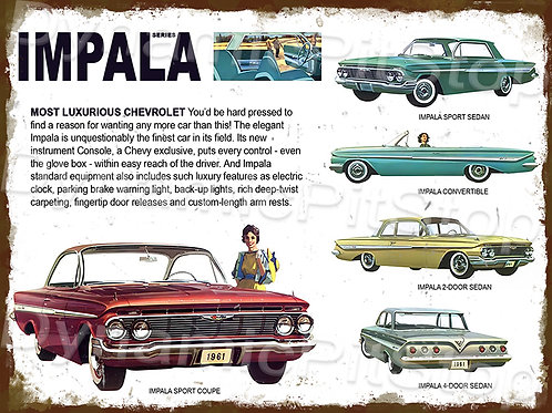 40x30cm Chevrolet Impala Series Rustic Decal or Tin Sign