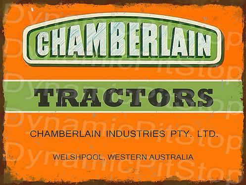40x30cm Chamberlain Tractors Logo Rustic Decal or Tin Sign