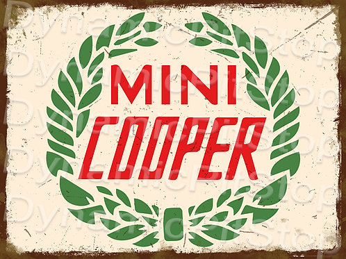 40x30cm MINI Cooper Vintage Logo Rustic Decal or Tin Sign
