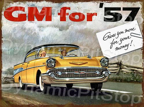 40x30cm General Motors 1957 Chevrolet Rustic Decal or Tin Sign