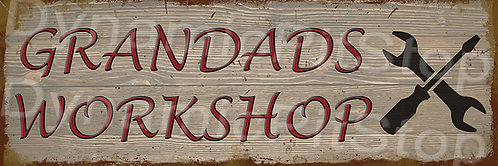 60x20cm Grandads Workshop Rustic Decal or Tin Sign