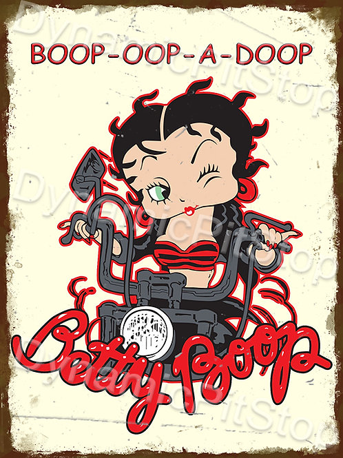 30x40cm Betty Boop Motorbike Rustic Decal or Tin Sign