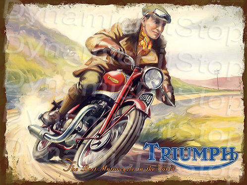 40x30cm Triumph Motorcycle Rustic Decal or Tin Sign