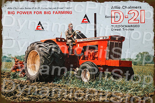 60x40cm Allis Chalmers D21 Tractor Rustic Decal or Tin Sign