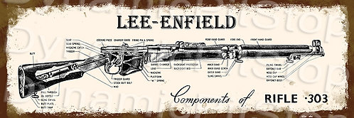60x20cm Lee-Enfield Rifle .303 Specs Rustic Decal or Tin Sign